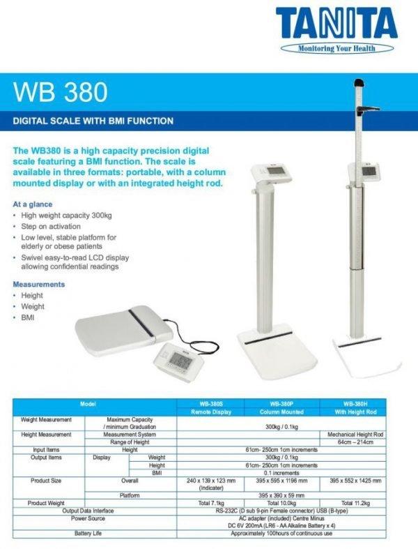 日本Tanita WB-380H 人體磅連度高尺